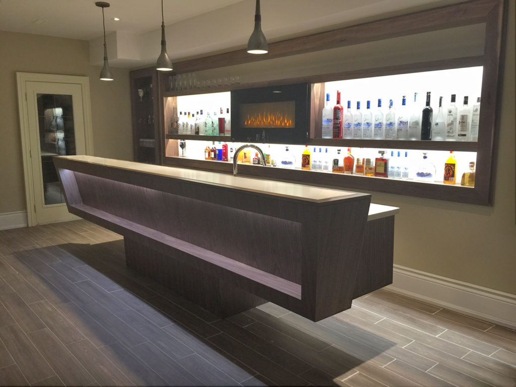 finished bar in basement renovations in the GTA