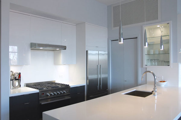 Modern condo kitchen renovation with gas stove