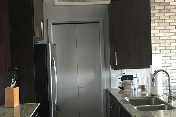Condo galley kitchen before renovation.